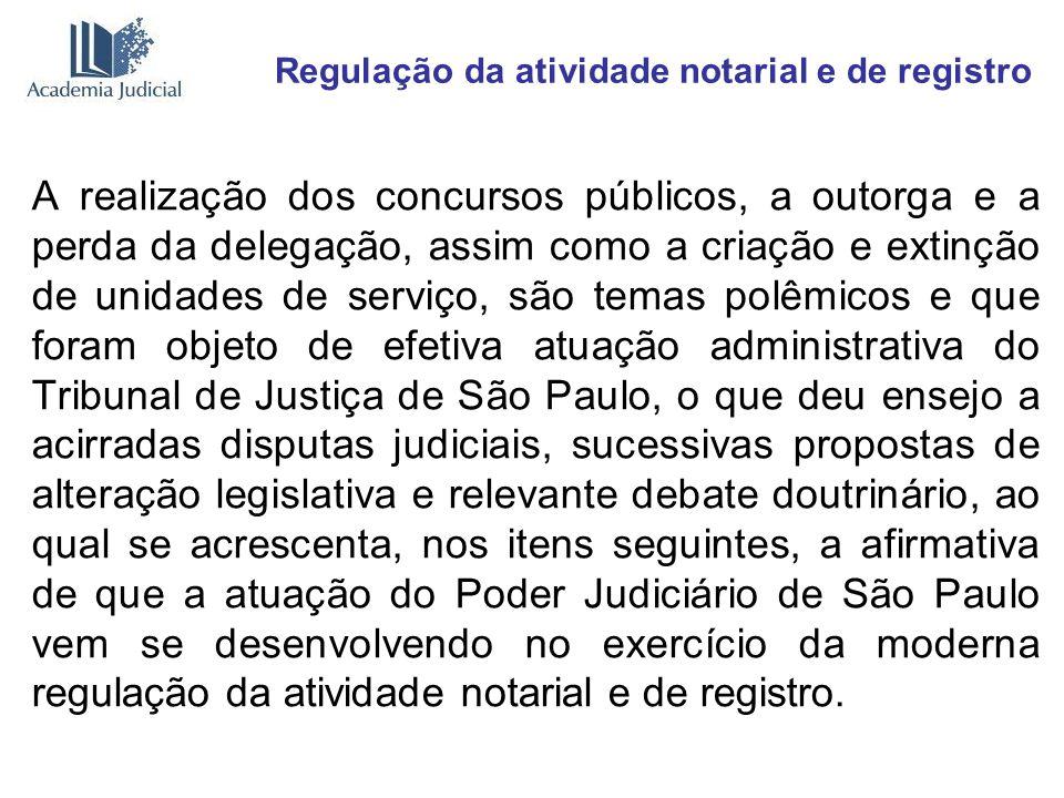 Regulação da atividade notarial e de registro A realização dos concursos públicos, a outorga e a perda da delegação, assim como a criação e extinção d