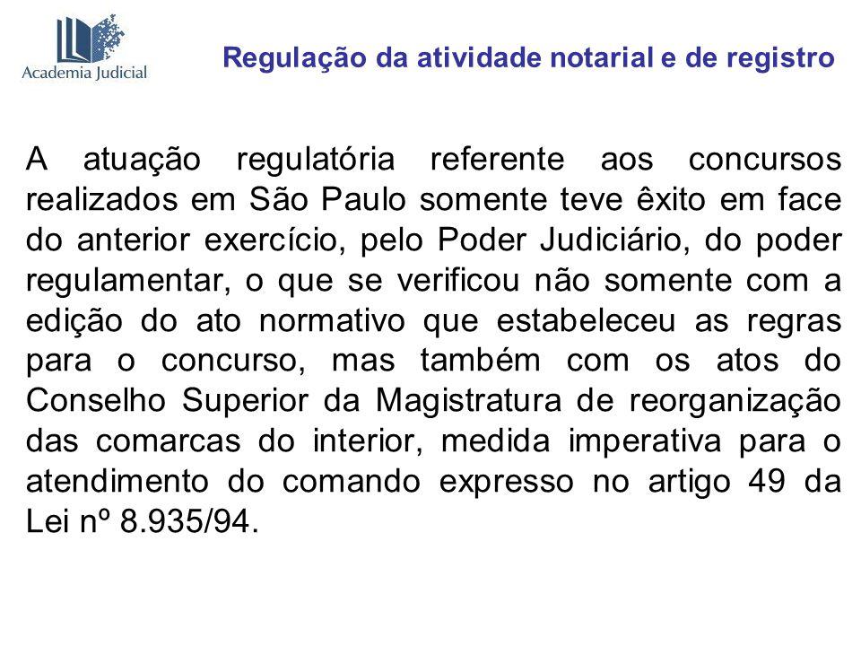 Regulação da atividade notarial e de registro A atuação regulatória referente aos concursos realizados em São Paulo somente teve êxito em face do ante