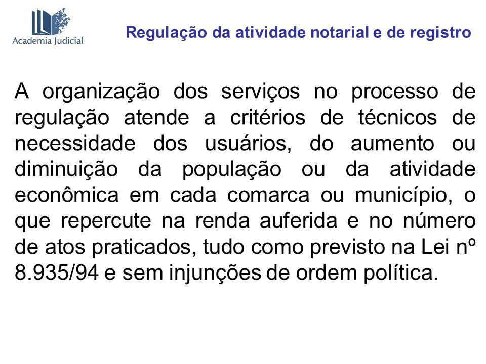 Regulação da atividade notarial e de registro A organização dos serviços no processo de regulação atende a critérios de técnicos de necessidade dos us