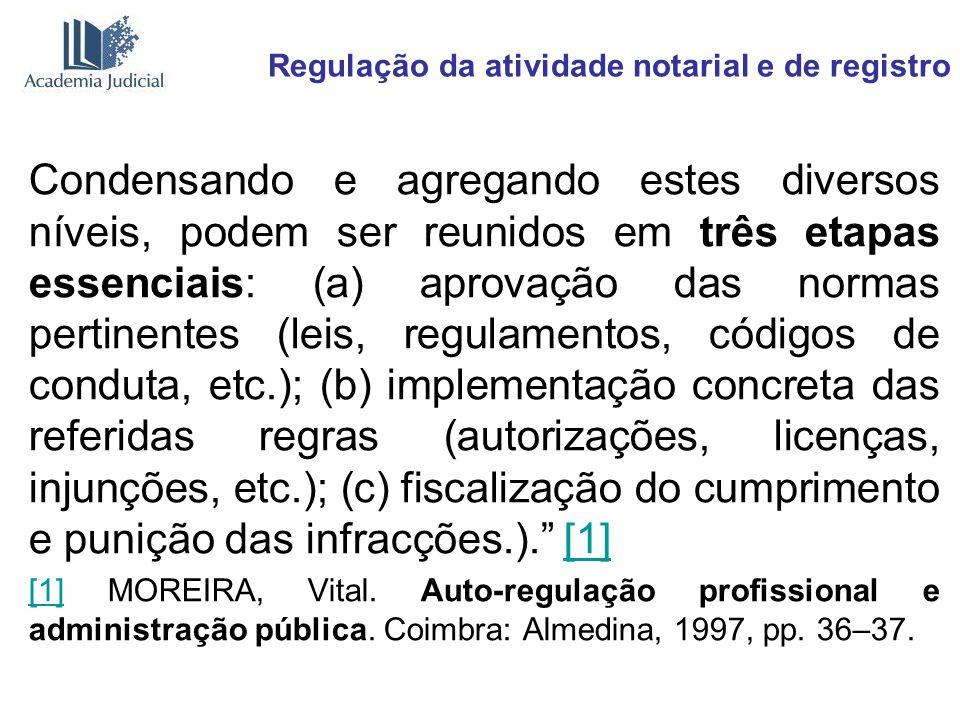 Regulação da atividade notarial e de registro As noções apresentadas permitem verificar que, no Brasil, à falta de uma organização privada de notários e registradores que exerça a auto-regulação privada, temos, com relação aos serviços notariais e de registro, uma regulação forte, resultado natural da obrigação de garantia assumida pelo Poder Público ao estabelecer o exercício privado da função pública.