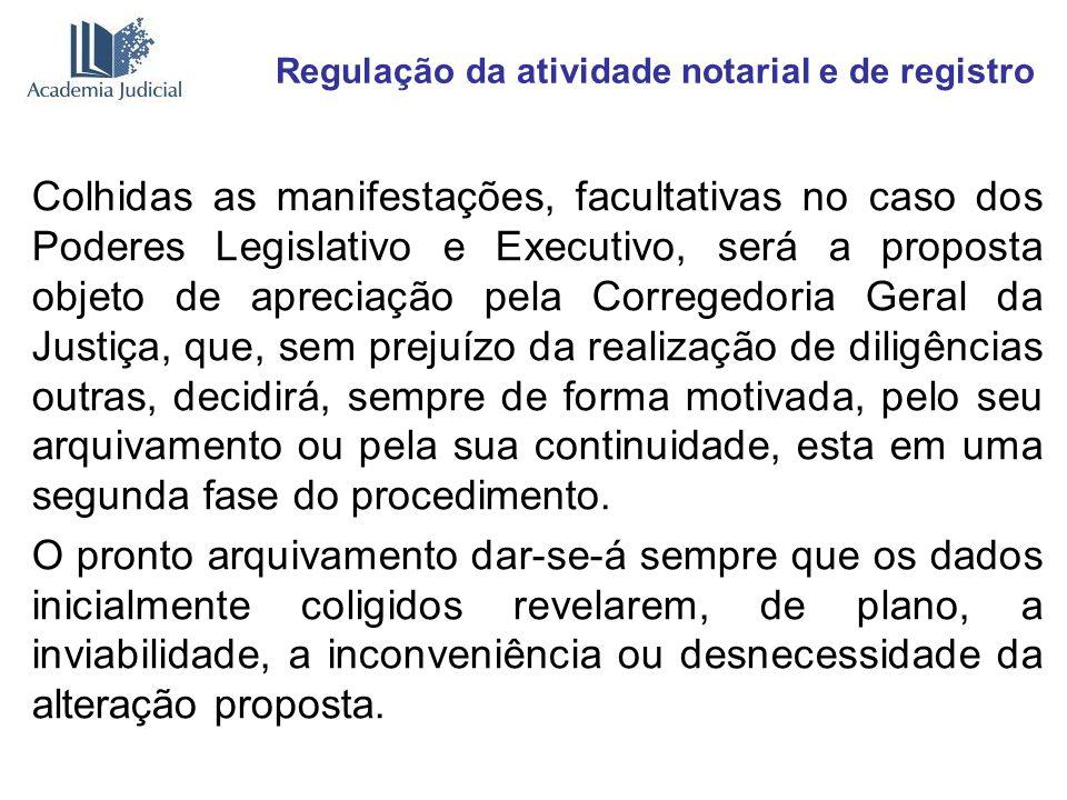Regulação da atividade notarial e de registro Colhidas as manifestações, facultativas no caso dos Poderes Legislativo e Executivo, será a proposta obj
