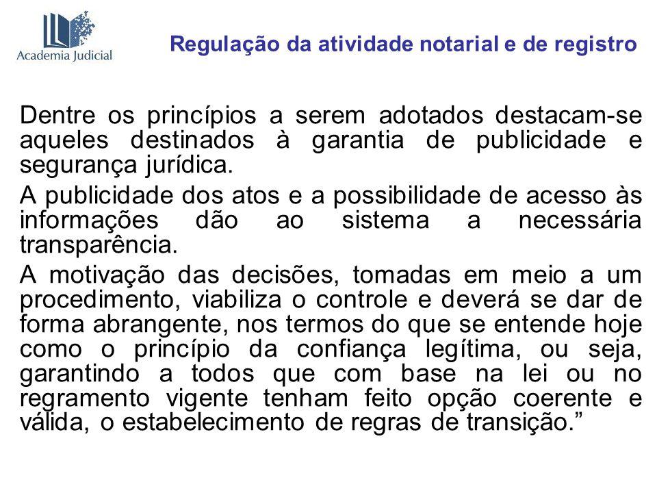 Regulação da atividade notarial e de registro Dentre os princípios a serem adotados destacam-se aqueles destinados à garantia de publicidade e seguran
