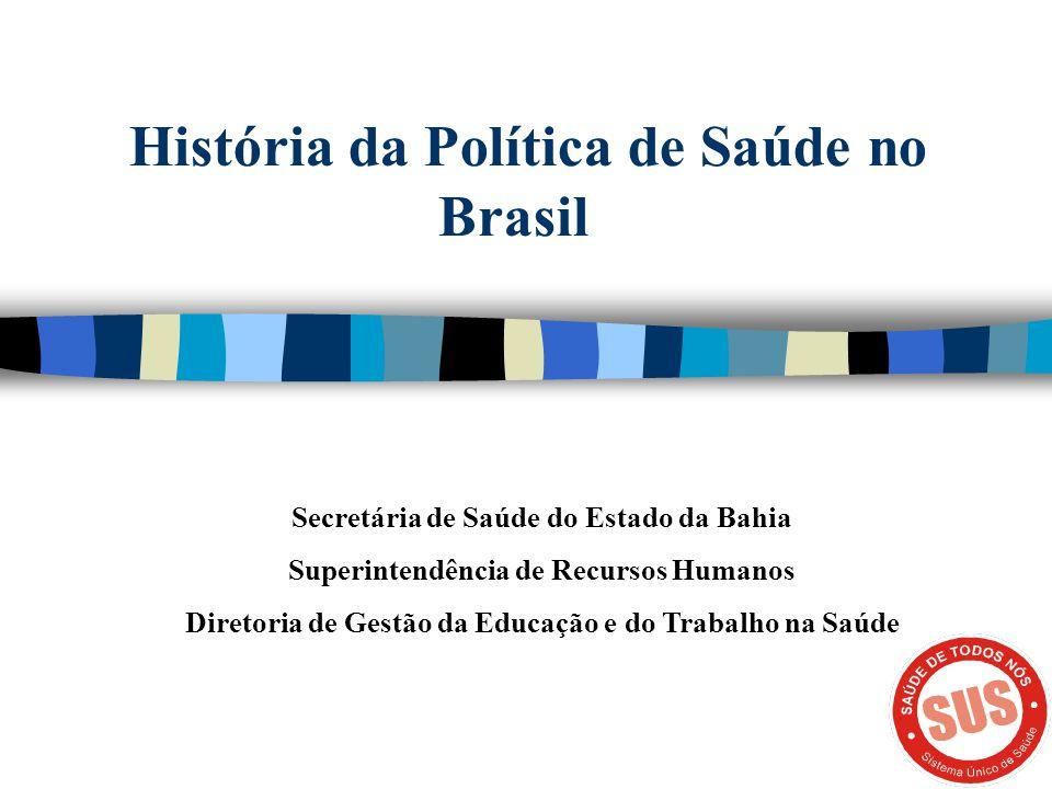 História da Política de Saúde no Brasil Secretária de Saúde do Estado da Bahia Superintendência de Recursos Humanos Diretoria de Gestão da Educação e