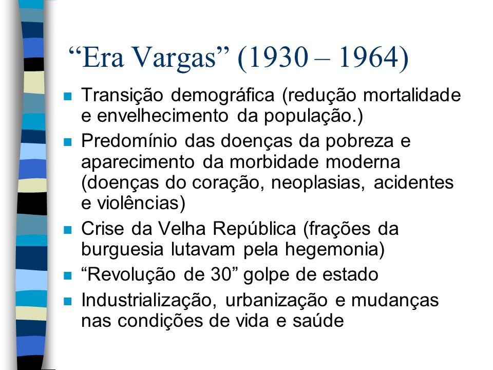 Era Vargas (1930 – 1964) n Transição demográfica (redução mortalidade e envelhecimento da população.) n Predomínio das doenças da pobreza e aparecimen