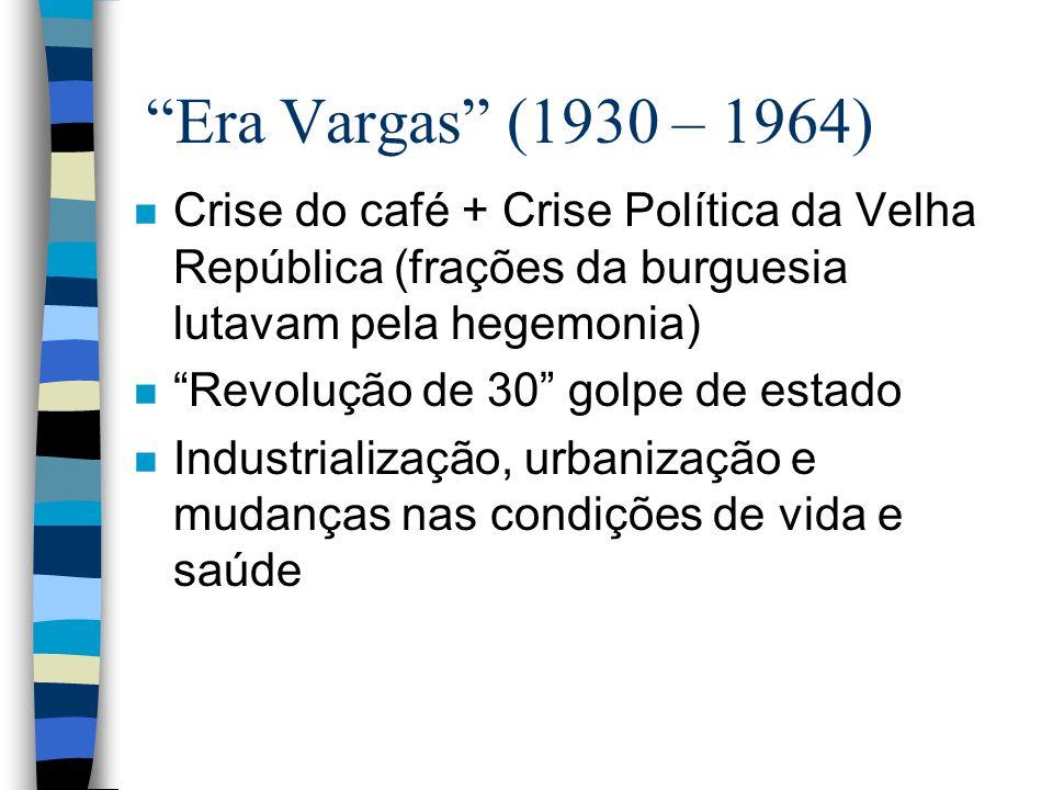 Era Vargas (1930 – 1964) n Crise do café + Crise Política da Velha República (frações da burguesia lutavam pela hegemonia) n Revolução de 30 golpe de