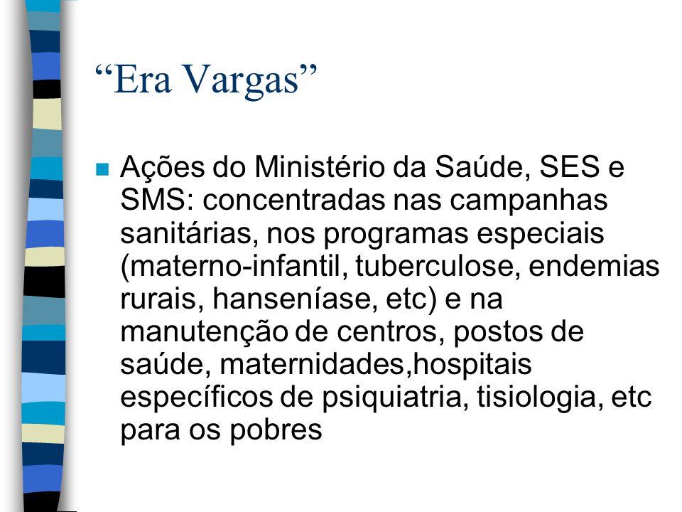Era Vargas n Ações do Ministério da Saúde, SES e SMS: concentradas nas campanhas sanitárias, nos programas especiais (materno-infantil, tuberculose, e