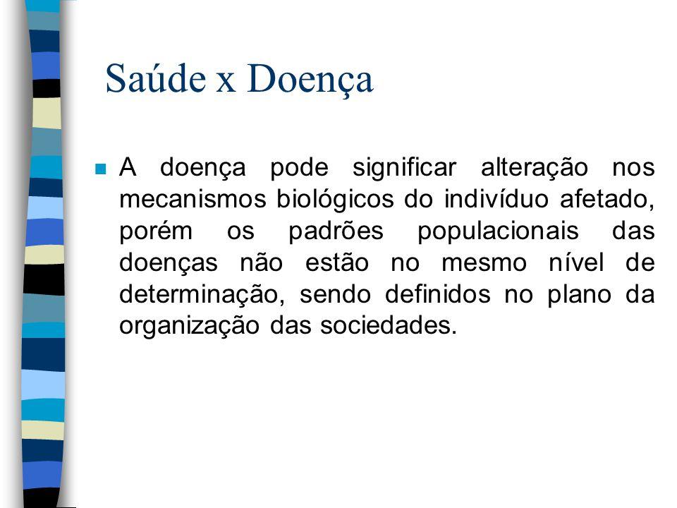 Saúde x Doença n A doença pode significar alteração nos mecanismos biológicos do indivíduo afetado, porém os padrões populacionais das doenças não est