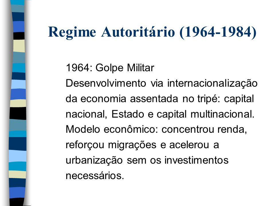 Regime Autoritário (1964-1984) 1964: Golpe Militar Desenvolvimento via internacionalização da economia assentada no tripé: capital nacional, Estado e