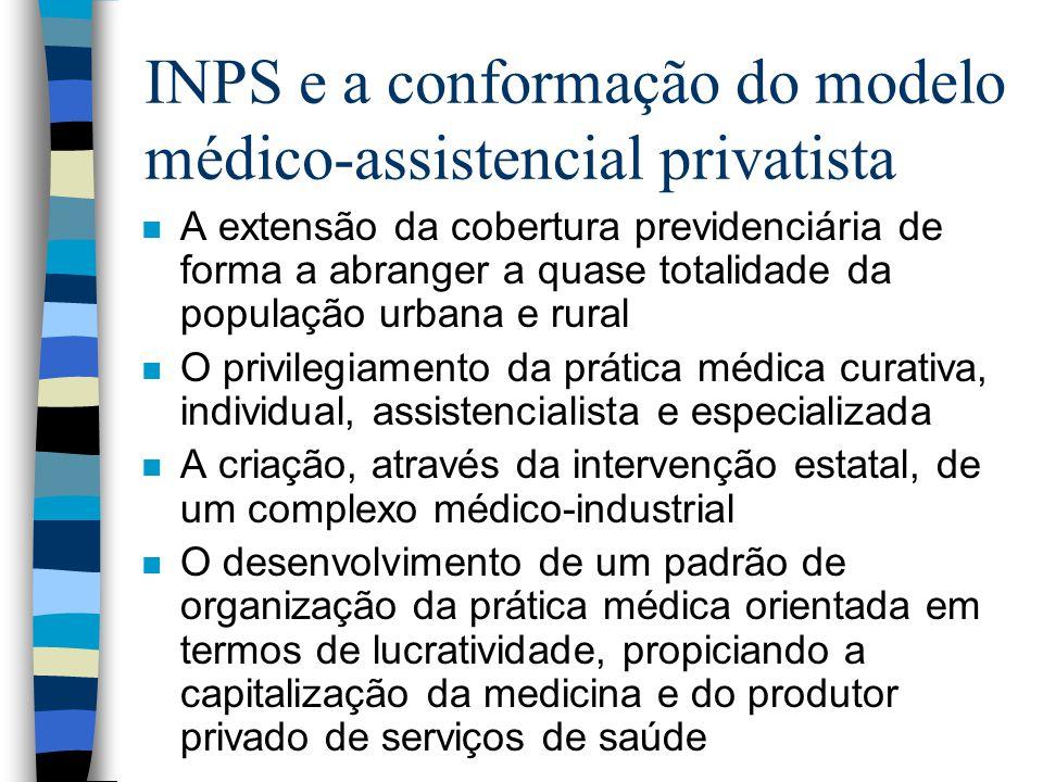INPS e a conformação do modelo médico-assistencial privatista n A extensão da cobertura previdenciária de forma a abranger a quase totalidade da popul