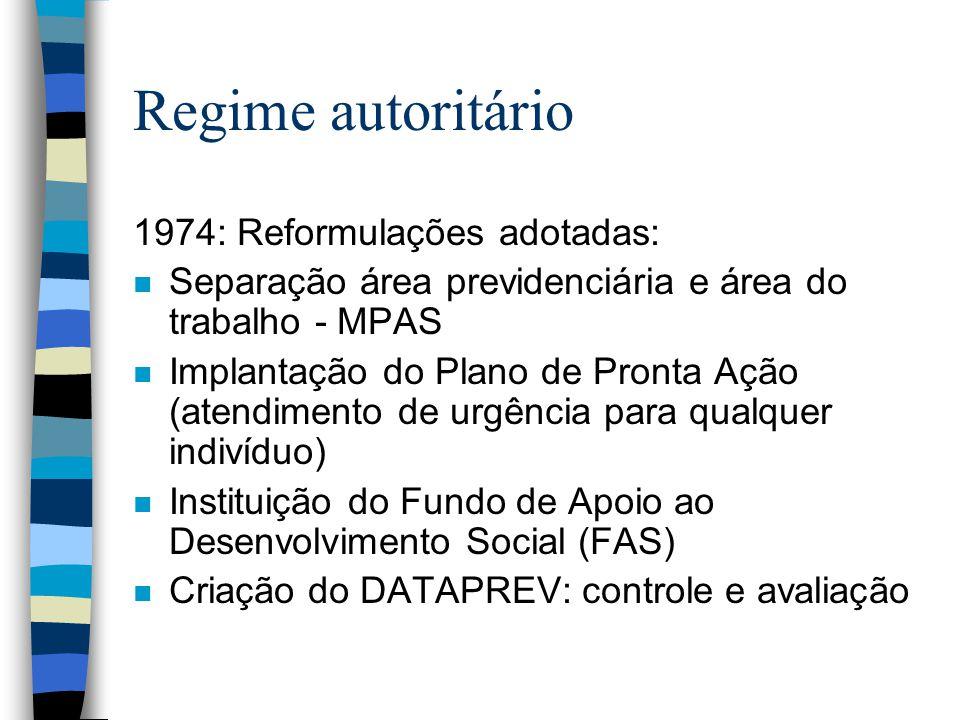 Regime autoritário 1974: Reformulações adotadas: n Separação área previdenciária e área do trabalho - MPAS n Implantação do Plano de Pronta Ação (aten