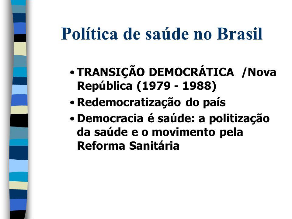 Política de saúde no Brasil TRANSIÇÃO DEMOCRÁTICA /Nova República (1979 - 1988) Redemocratização do país Democracia é saúde: a politização da saúde e