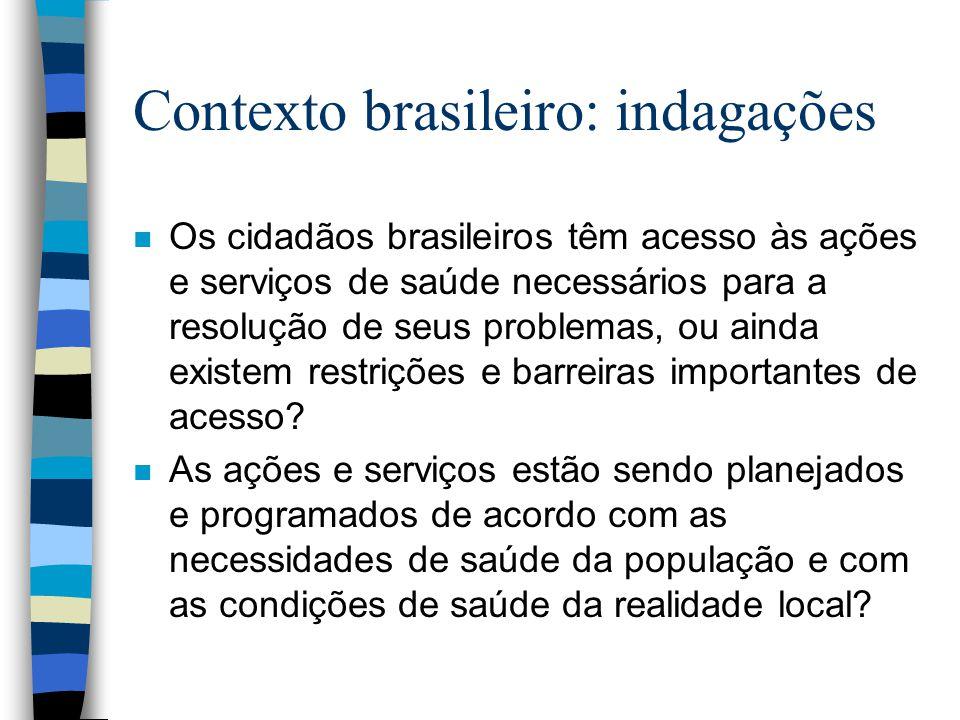 Contexto brasileiro: indagações n Os cidadãos brasileiros têm acesso às ações e serviços de saúde necessários para a resolução de seus problemas, ou a