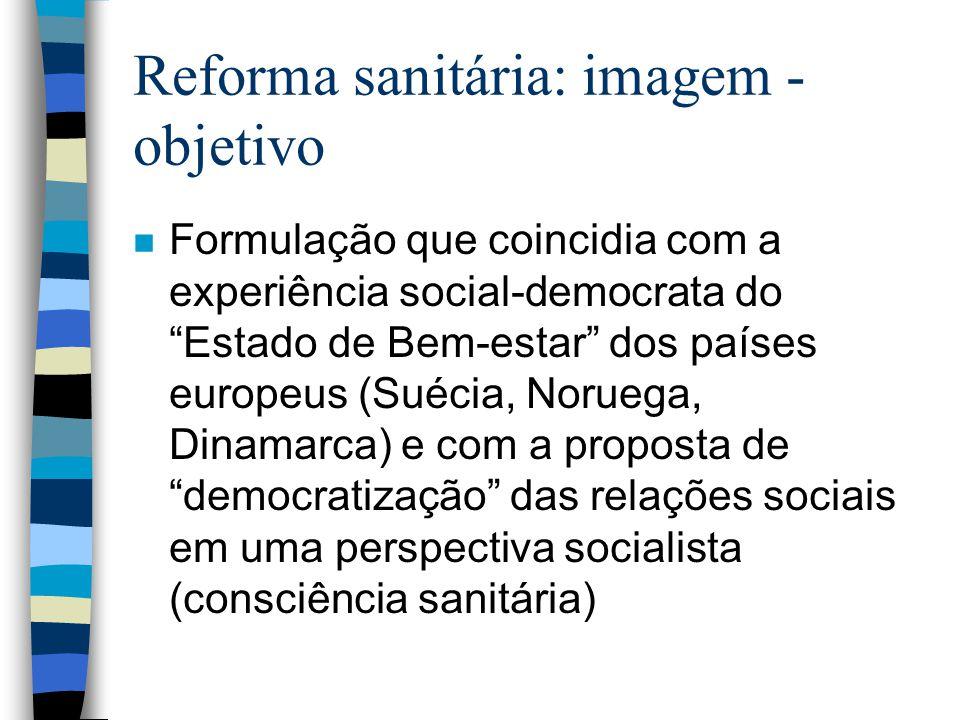 Reforma sanitária: imagem - objetivo n Formulação que coincidia com a experiência social-democrata do Estado de Bem-estar dos países europeus (Suécia,