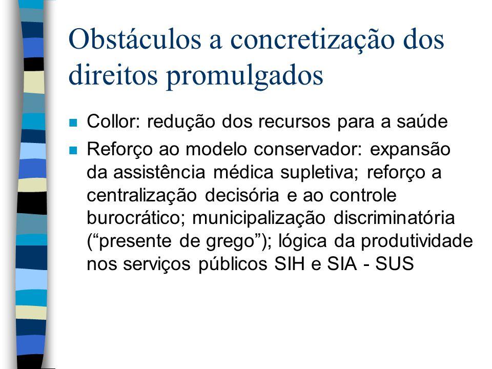 Obstáculos a concretização dos direitos promulgados n Collor: redução dos recursos para a saúde n Reforço ao modelo conservador: expansão da assistênc