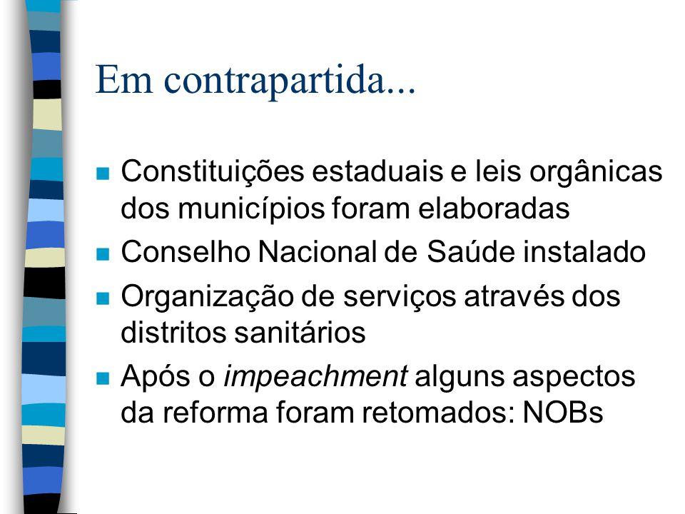 Em contrapartida... n Constituições estaduais e leis orgânicas dos municípios foram elaboradas n Conselho Nacional de Saúde instalado n Organização de