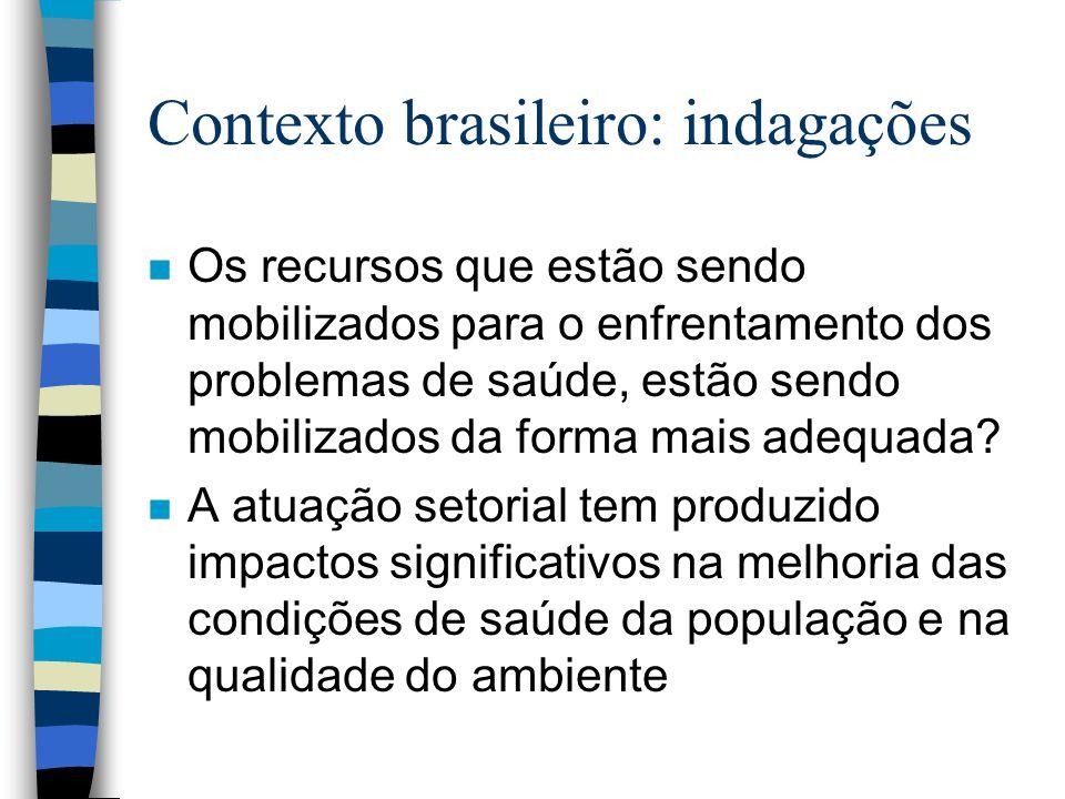 Contexto brasileiro: indagações n Os recursos que estão sendo mobilizados para o enfrentamento dos problemas de saúde, estão sendo mobilizados da form