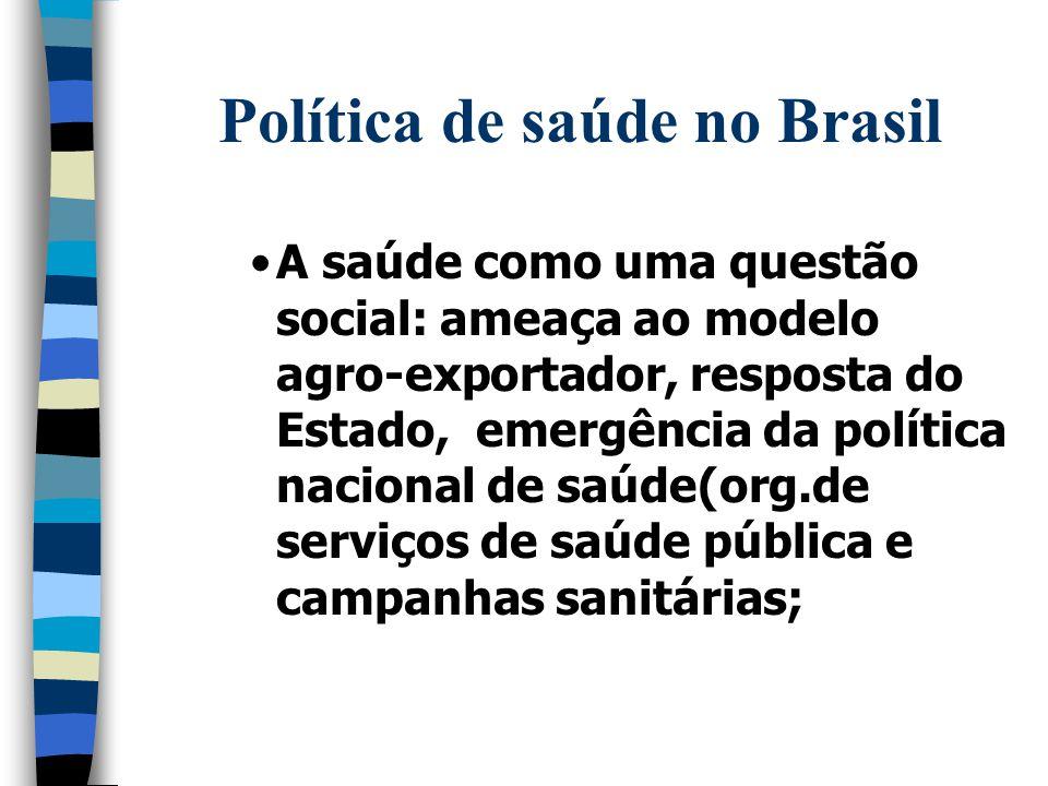 Política de saúde no Brasil A saúde como uma questão social: ameaça ao modelo agro-exportador, resposta do Estado, emergência da política nacional de