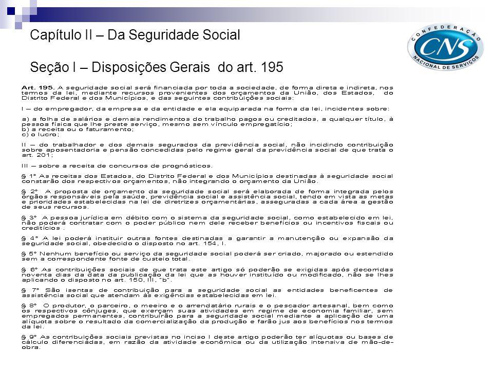 Capítulo II – Da Seguridade Social Alteração - Seção I – Disposições Gerais do art. 195