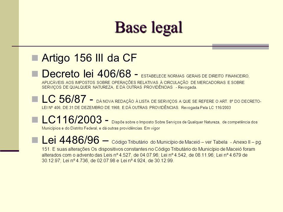Base legal Artigo 156 III da CF Artigo 156 III da CF Decreto lei 406/68 - Decreto lei 406/68 - ESTABELECE NORMAS GERAIS DE DIREITO FINANCEIRO, APLICÁVEIS AOS IMPOSTOS SOBRE OPERAÇÕES RELATIVAS À CIRCULAÇÃO DE MERCADORIAS E SOBRE SERVIÇOS DE QUALQUER NATUREZA, E DÁ OUTRAS PROVIDÊNCIAS - Revogada.