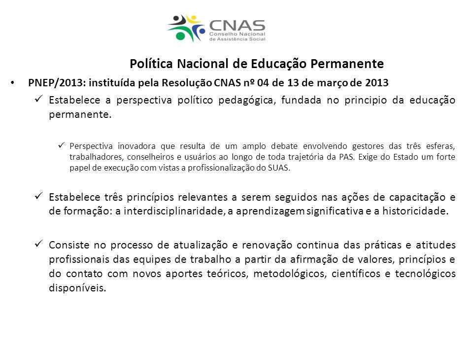 Política Nacional de Educação Permanente PNEP/2013: instituída pela Resolução CNAS nº 04 de 13 de março de 2013 Estabelece a perspectiva político peda