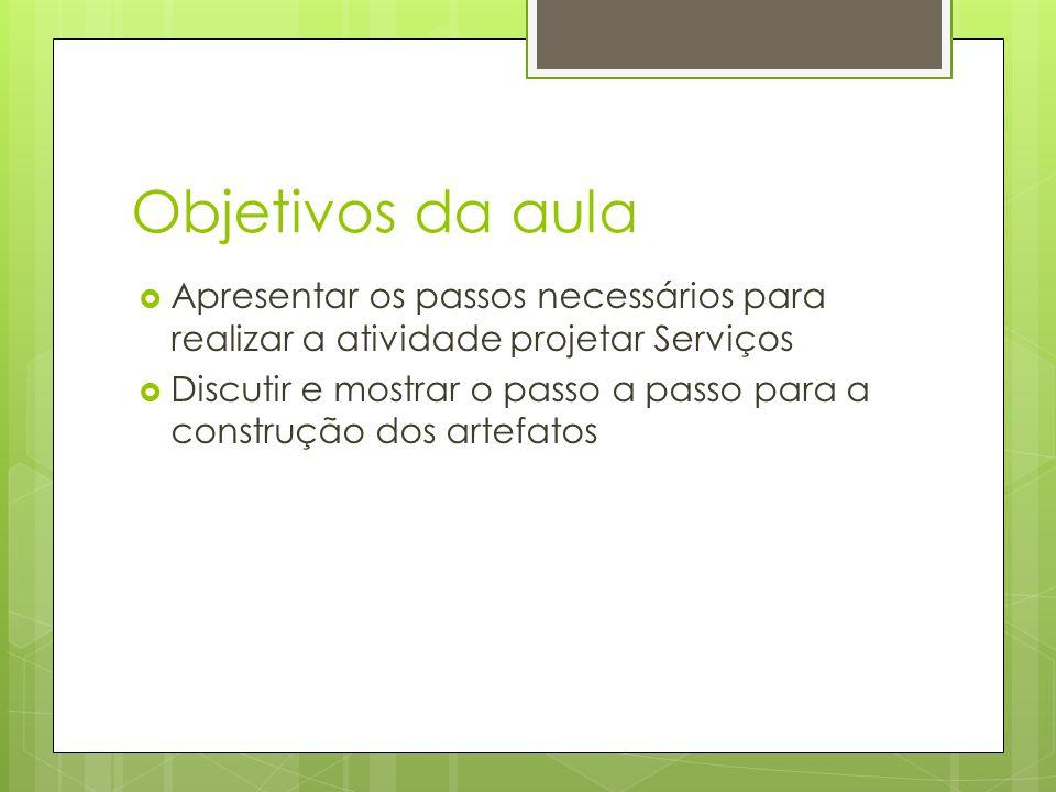 Objetivos da aula Apresentar os passos necessários para realizar a atividade projetar Serviços Discutir e mostrar o passo a passo para a construção do