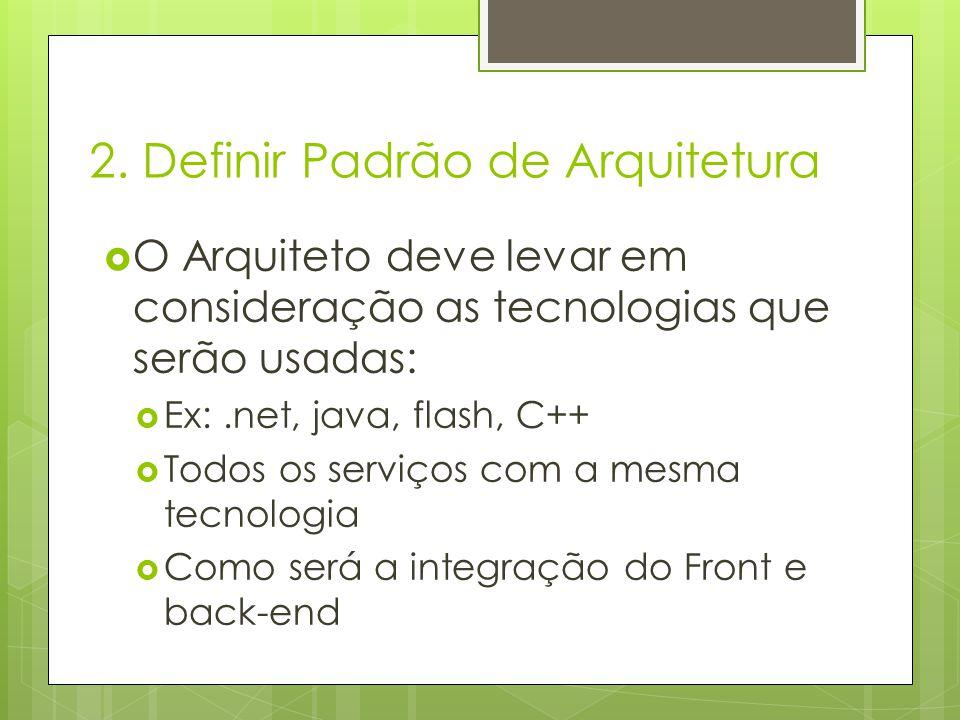 O Arquiteto deve levar em consideração as tecnologias que serão usadas: Ex:.net, java, flash, C++ Todos os serviços com a mesma tecnologia Como será a
