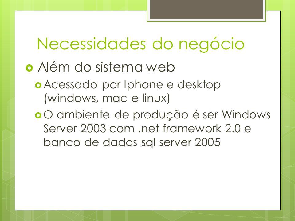 Necessidades do negócio Além do sistema web Acessado por Iphone e desktop (windows, mac e linux) O ambiente de produção é ser Windows Server 2003 com.