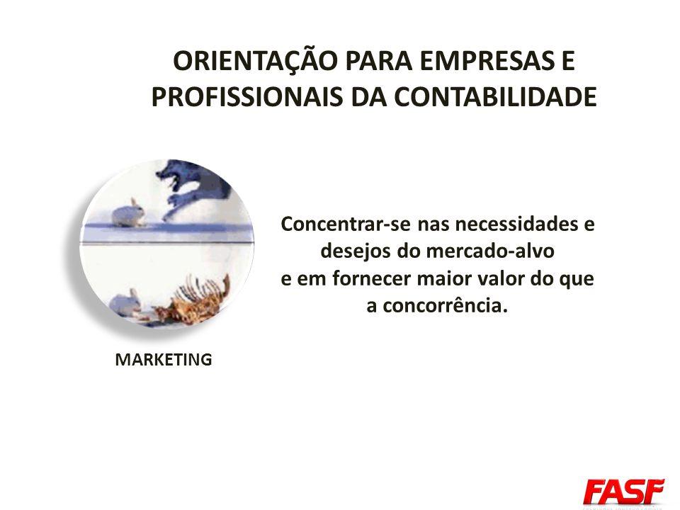 ORIENTAÇÃO PARA EMPRESAS E PROFISSIONAIS DA CONTABILIDADE MARKETING Concentrar-se nas necessidades e desejos do mercado-alvo e em fornecer maior valor