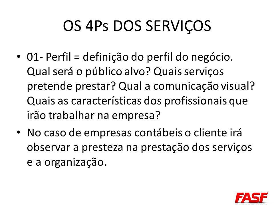 OS 4Ps DOS SERVIÇOS 01- Perfil = definição do perfil do negócio. Qual será o público alvo? Quais serviços pretende prestar? Qual a comunicação visual?