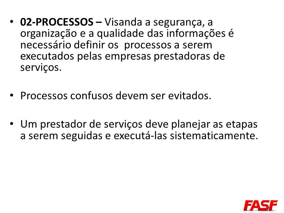 02-PROCESSOS – Visanda a segurança, a organização e a qualidade das informações é necessário definir os processos a serem executados pelas empresas pr