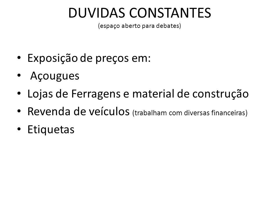 DUVIDAS CONSTANTES (espaço aberto para debates) Exposição de preços em: Açougues Lojas de Ferragens e material de construção Revenda de veículos (trab