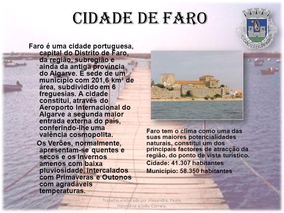 Cidade de Faro Faro tem o clima como uma das suas maiores potencialidades naturais, constitui um dos principais factores de atracção da região, do ponto de vista turístico.