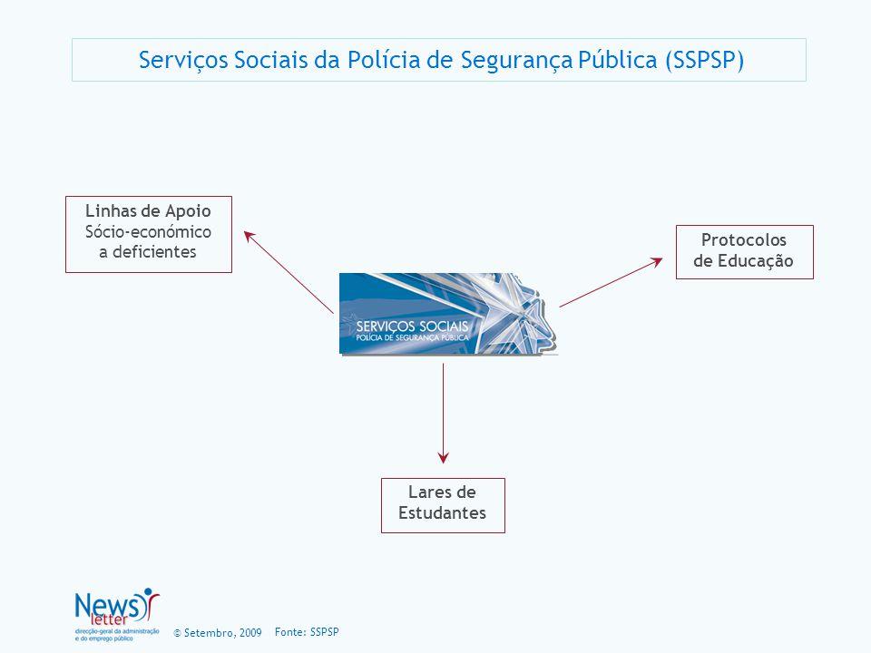 © Setembro, 2009 Serviços Sociais da Polícia de Segurança Pública (SSPSP) Fonte: SSPSP Linhas de Apoio Sócio-económico a deficientes Protocolos de Edu