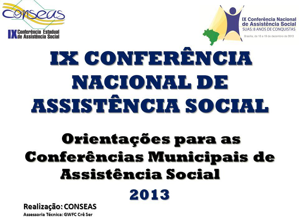 IX CONFERÊNCIA NACIONAL DE ASSISTÊNCIA SOCIAL Orientações para as Orientações para as Conferências Municipais de Assistência Social IX CONFERÊNCIA NAC