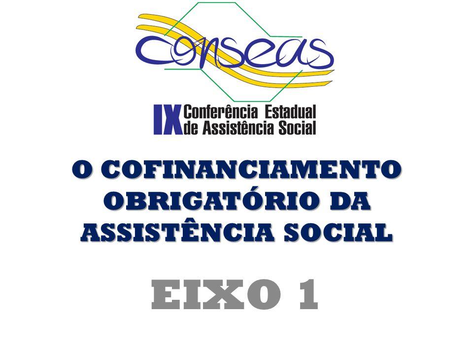 O COFINANCIAMENTO OBRIGATÓRIO DA ASSISTÊNCIA SOCIAL EIXO 1
