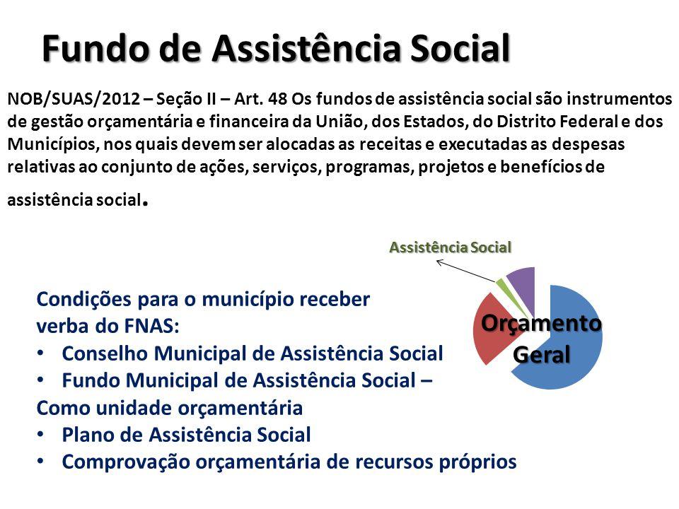 Fundo de Assistência Social NOB/SUAS/2012 – Seção II – Art. 48 Os fundos de assistência social são instrumentos de gestão orçamentária e financeira da