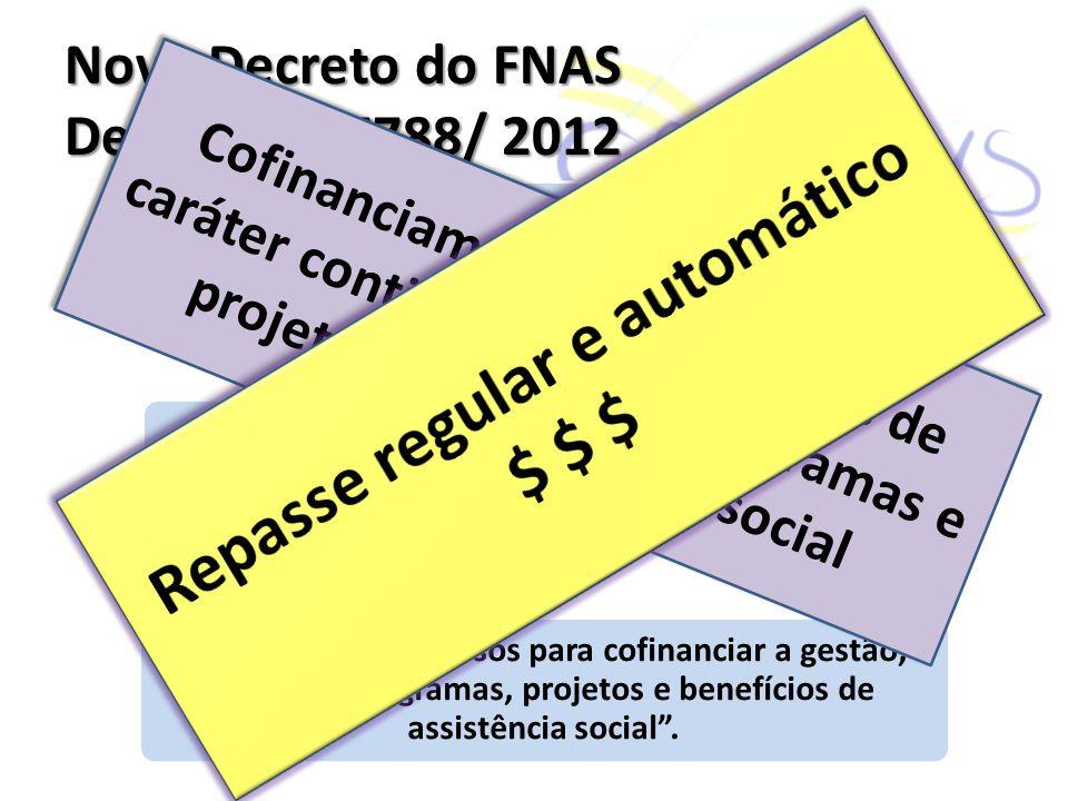 Novo Decreto do FNAS Decreto nº 7788/ 2012 fundo público de gestão orçamentária, financeira e contábil Objetivo - inovação correspondente aos avanços