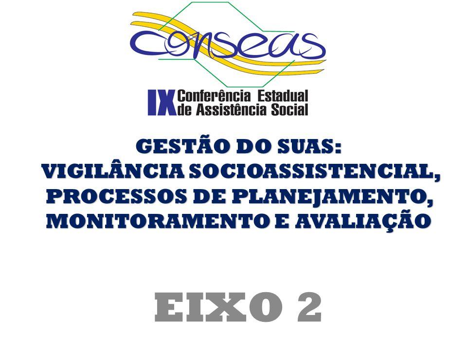 EIXO 2 GESTÃO DO SUAS: VIGILÂNCIA SOCIOASSISTENCIAL, PROCESSOS DE PLANEJAMENTO, MONITORAMENTO E AVALIAÇÃO VIGILÂNCIA SOCIOASSISTENCIAL, PROCESSOS DE P