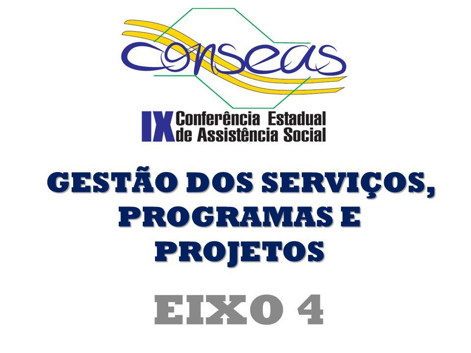 EIXO 4 GESTÃO DOS SERVIÇOS, PROGRAMAS E PROJETOS