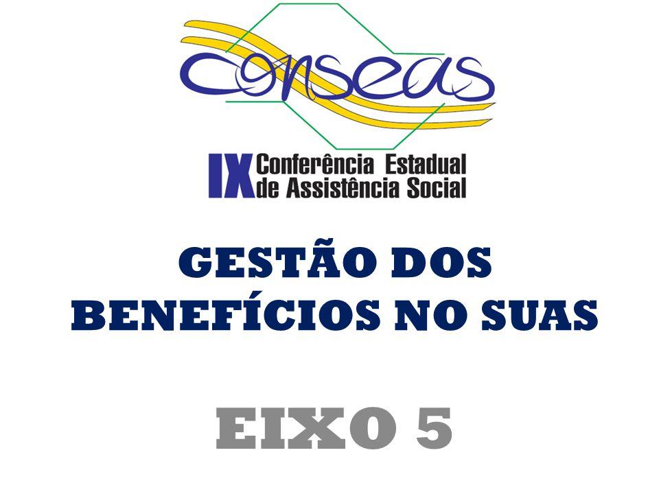 EIXO 5 GESTÃO DOS BENEFÍCIOS NO SUAS
