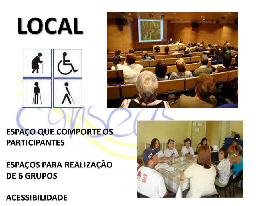 LOCAL ESPAÇO QUE COMPORTE OS PARTICIPANTES ESPAÇOS PARA REALIZAÇÃO DE 6 GRUPOS ACESSIBILIDADE