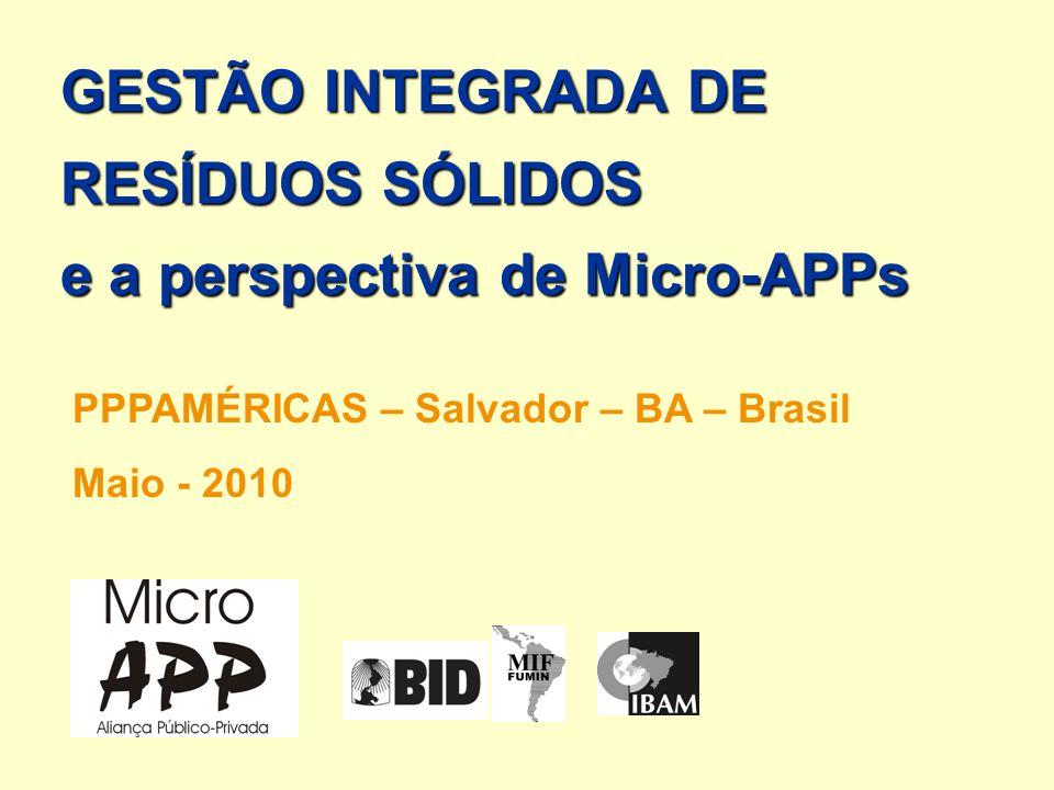 GESTÃO INTEGRADA DE RESÍDUOS SÓLIDOS e a perspectiva de Micro-APPs PPPAMÉRICAS – Salvador – BA – Brasil Maio - 2010