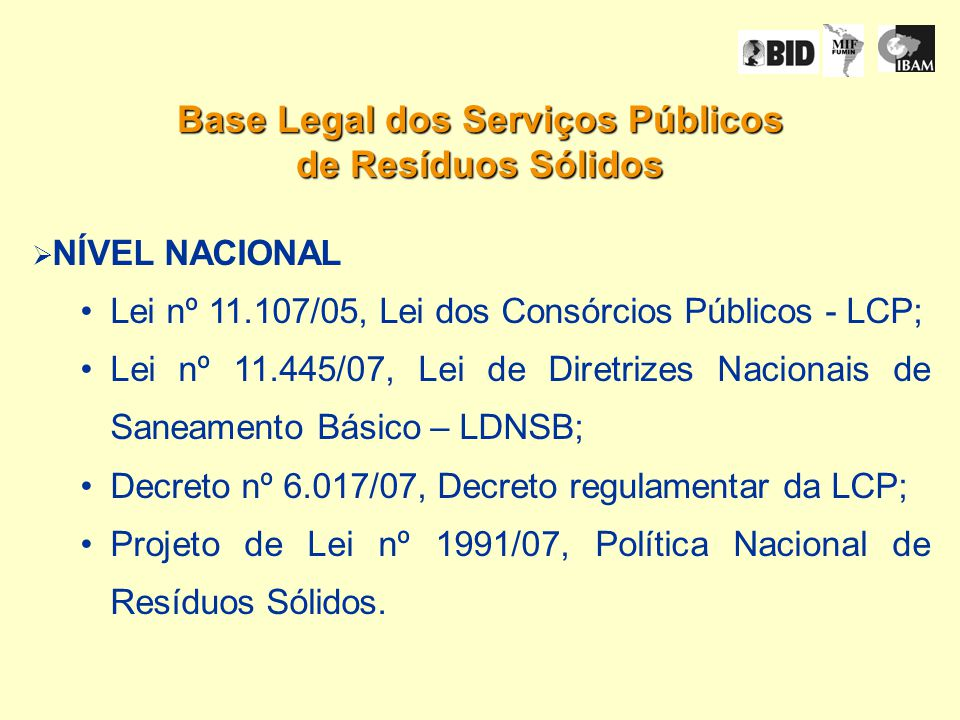 Base Legal dos Serviços Públicos de Resíduos Sólidos NÍVEL NACIONAL Lei nº 11.107/05, Lei dos Consórcios Públicos - LCP; Lei nº 11.445/07, Lei de Diretrizes Nacionais de Saneamento Básico – LDNSB; Decreto nº 6.017/07, Decreto regulamentar da LCP; Projeto de Lei nº 1991/07, Política Nacional de Resíduos Sólidos.
