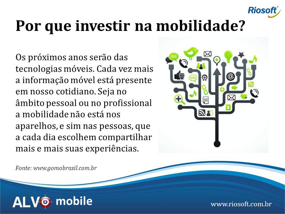 www.riosoft.com.br mobile Por que investir na mobilidade? Os próximos anos serão das tecnologias móveis. Cada vez mais a informação móvel está present