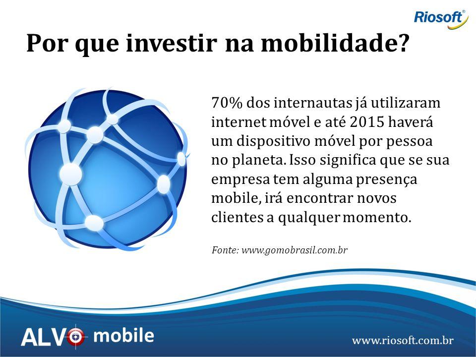 www.riosoft.com.br mobile 70% dos internautas já utilizaram internet móvel e até 2015 haverá um dispositivo móvel por pessoa no planeta. Isso signific