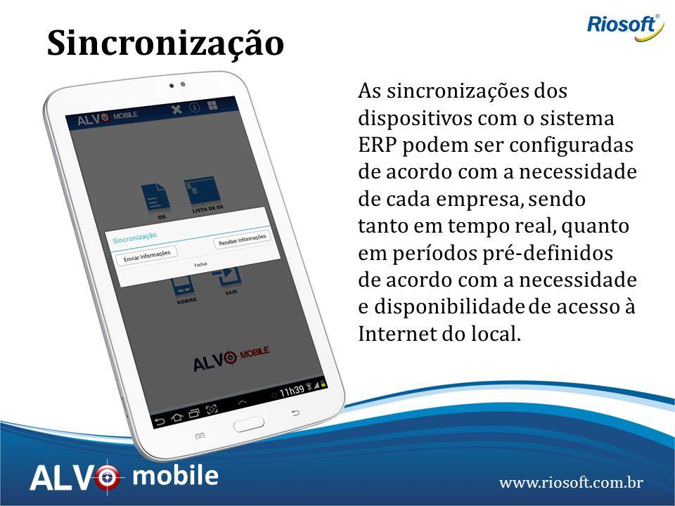 www.riosoft.com.br mobile As sincronizações dos dispositivos com o sistema ERP podem ser configuradas de acordo com a necessidade de cada empresa, sen