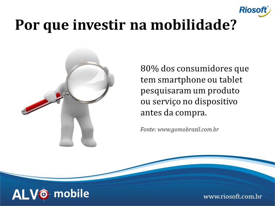 www.riosoft.com.br mobile 80% dos consumidores que tem smartphone ou tablet pesquisaram um produto ou serviço no dispositivo antes da compra. Fonte: w
