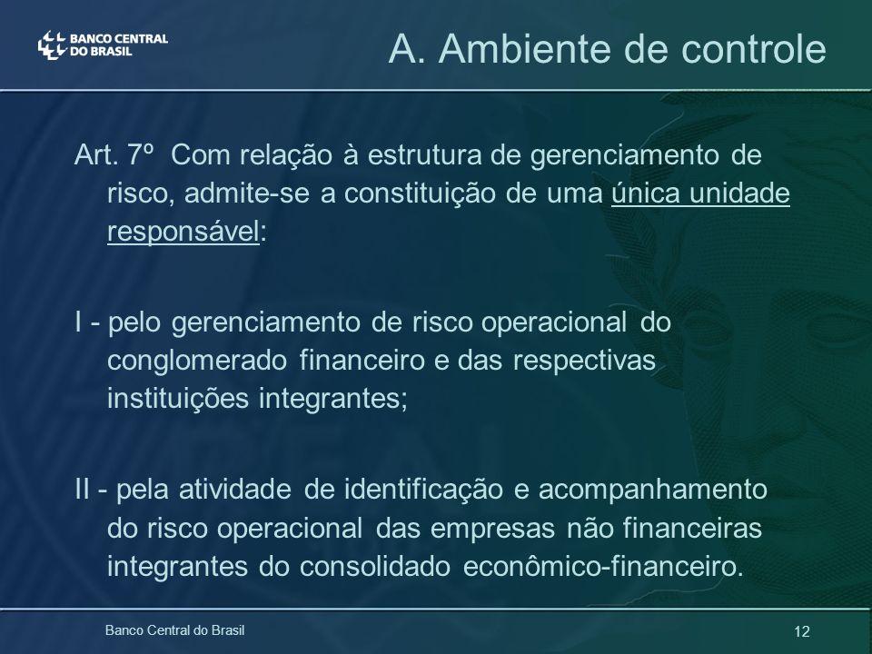 12 Banco Central do Brasil Art. 7º Com relação à estrutura de gerenciamento de risco, admite-se a constituição de uma única unidade responsável: I - p