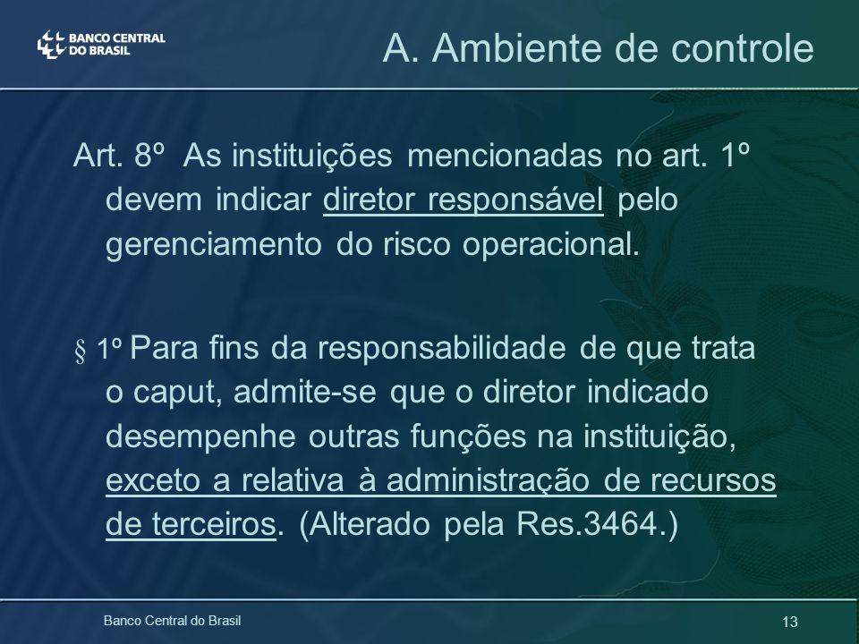 13 Banco Central do Brasil Art. 8º As instituições mencionadas no art. 1º devem indicar diretor responsável pelo gerenciamento do risco operacional. §