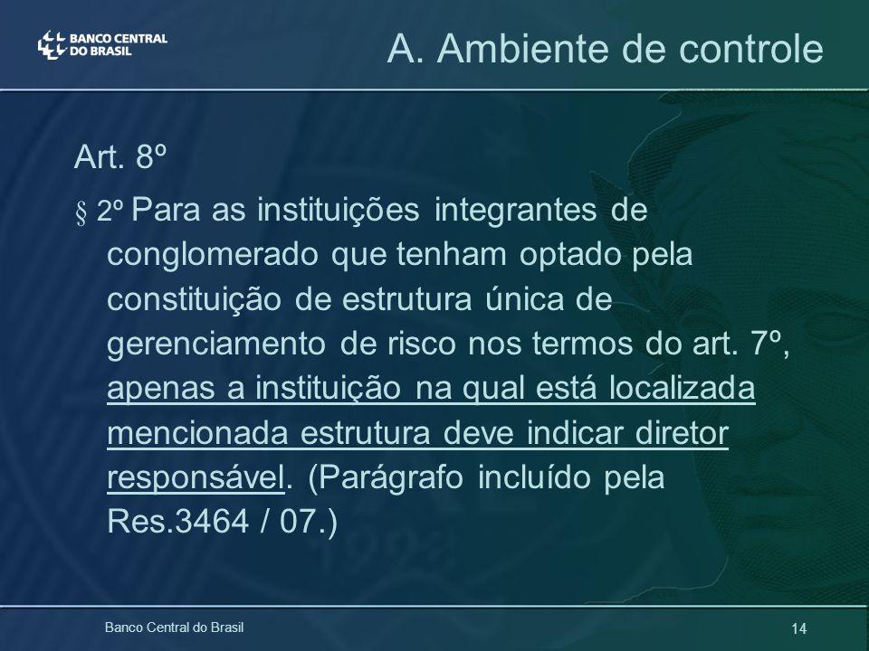 14 Banco Central do Brasil Art. 8º § 2º Para as instituições integrantes de conglomerado que tenham optado pela constituição de estrutura única de ger